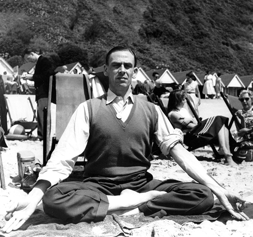 Dr. King in a yoga posture