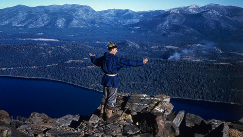 Dr. King in prayer atop Mt Tallac.