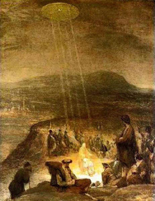 Painting of the Baptism of Christ with a UFO in the sky