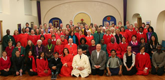 A gathering of Members, Friends and sympathisers of The Aetherius Society in the Aetherius Temple London after a session of the Cosmic Mission Operation Prayer Power