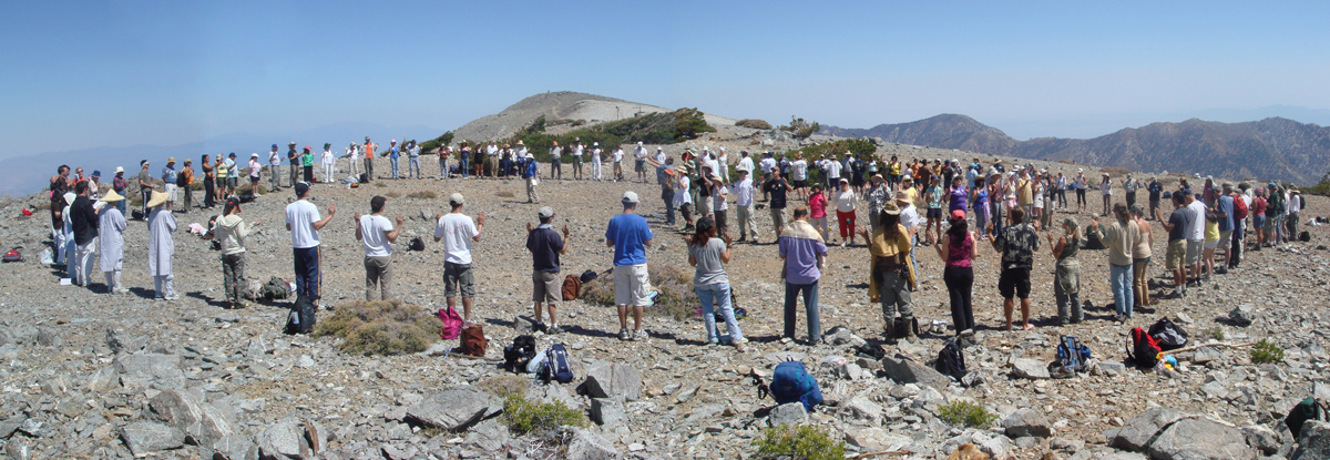 Pilgrims gathered on a holy mountain to send out spiritual energy to the world